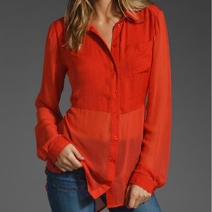 Free People Best of Both Worlds Red Sheer Top| S
